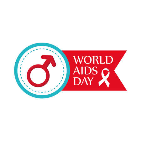 World aids day with male gender and ribbon design, first december and awareness theme Vector illustration