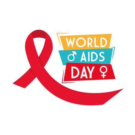 World aids day with ribbon female and male gender design, first december and awareness theme Vector illustration