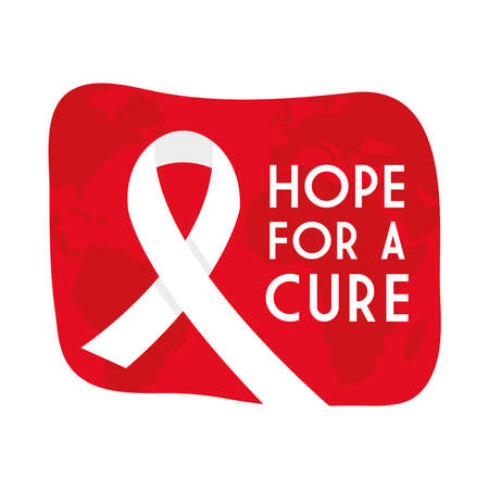 Hope for a cure world aids day with ribbon design, first december and awareness theme Vector illustration