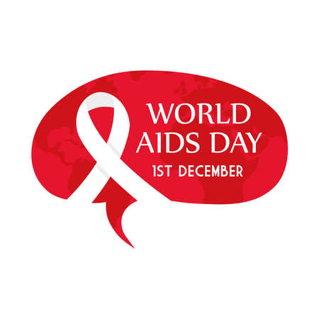 World aids day with ribbon on red banner design, first december and awareness theme Vector illustration