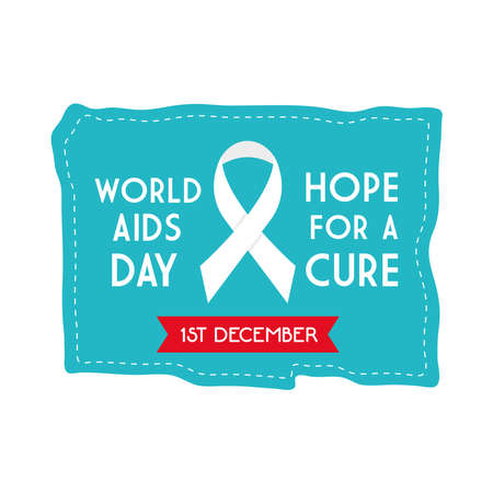 World aids day hope for a cure with ribbon on blue banner design, first december and awareness theme Vector illustration