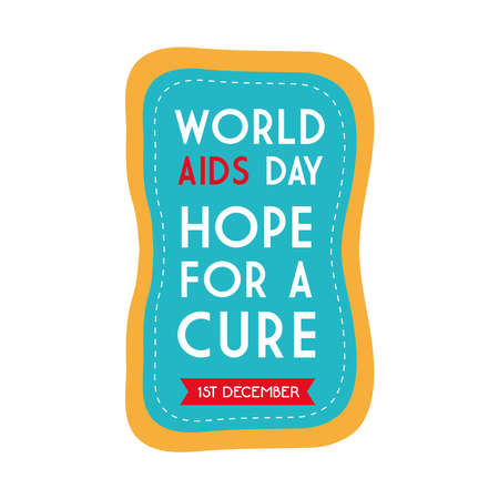 World aids day hope for a cure on blue banner design, first december and awareness theme Vector illustration