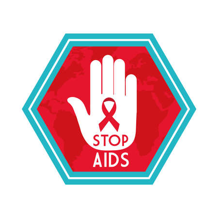 stop aids with ribbon on hand design, first december and awareness theme Vector illustration