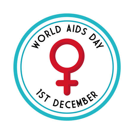 World aids day with female gender in seal stamp design, first december and awareness theme Vector illustration Illustration