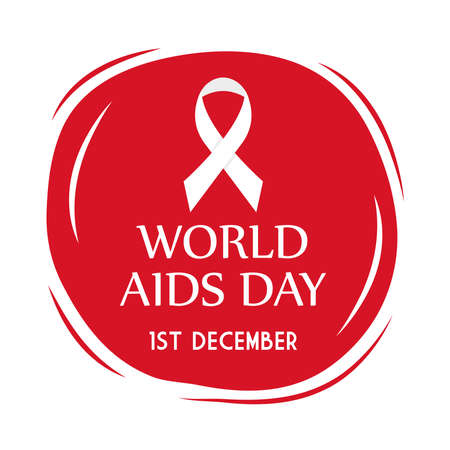 World aids day with ribbon on red circle design, first december and awareness theme Vector illustration Illustration