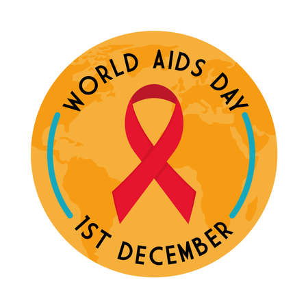 World aids day with ribbon on planet design, first december and awareness theme Vector illustration