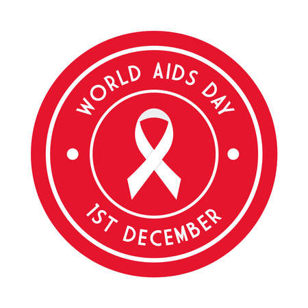 World aids day with ribbon in seal stamp design, first december and awareness theme Vector illustration Illustration