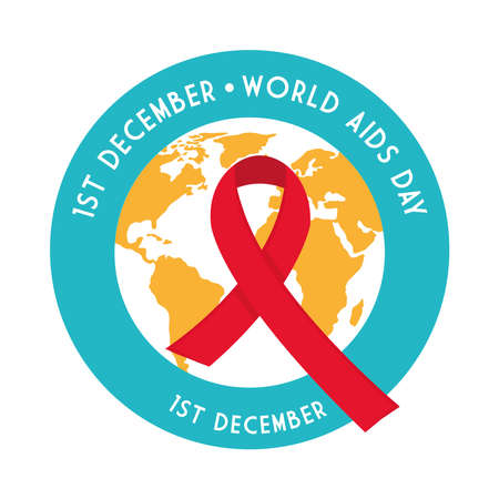World aids day with ribbon on planet seal stamp design, first december and awareness theme Vector illustration Illustration