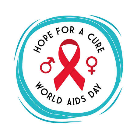 Hope for a cure world aids day with ribbon female and male gender design, first december and awareness theme Vector illustration Illustration