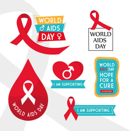 World aids day collection of icons design, first december and awareness theme Vector illustration