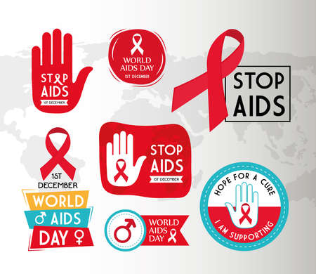 World aids day icon set design, first december and awareness theme Vector illustration