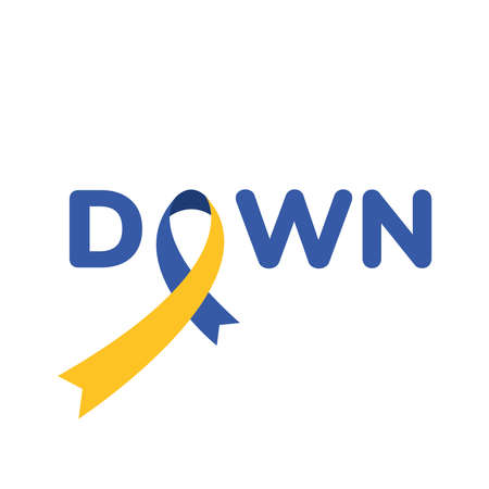 syndrome down ribbon campaign with word vector illustration design