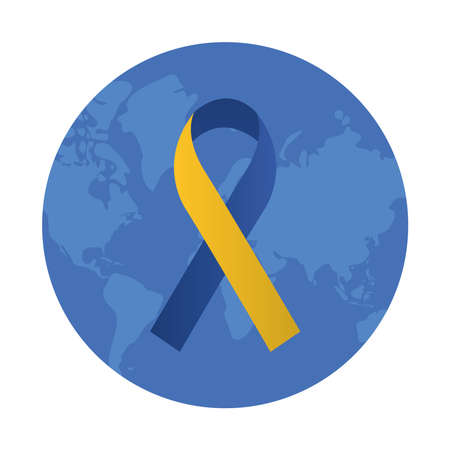 syndrome down ribbon campaign in earth planet vector illustration design