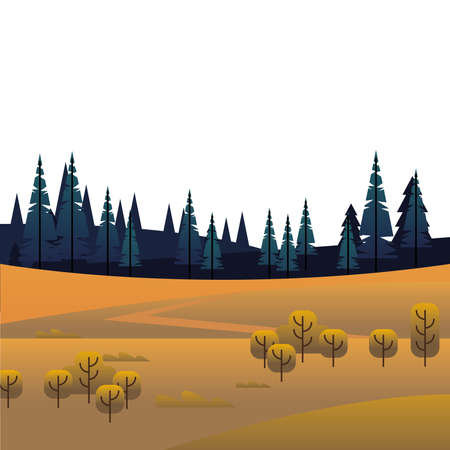 trees and pines forests in field scene vector illustration design