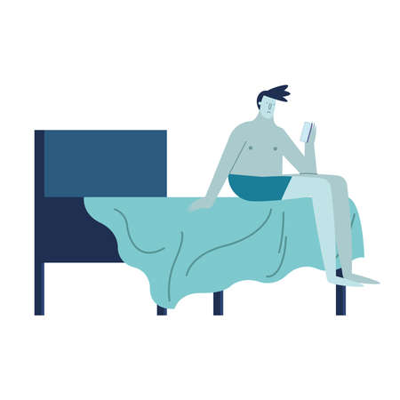 young man using smartphone with insomnia in bed character vector illustration design