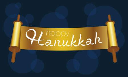 happy hanukkah celebration card with golden parchment vector illustration design