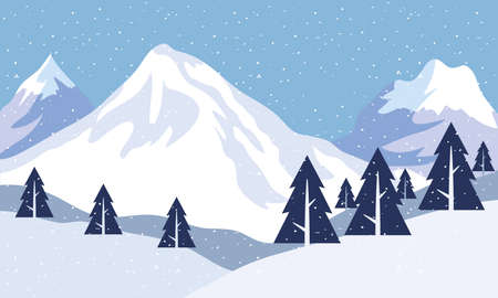 snow scape seasonal scene with pines and mountains peaks vector illustration design