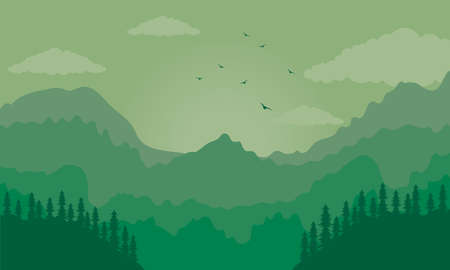 beautiful landscape green scene with mountains and trees vector illustration design