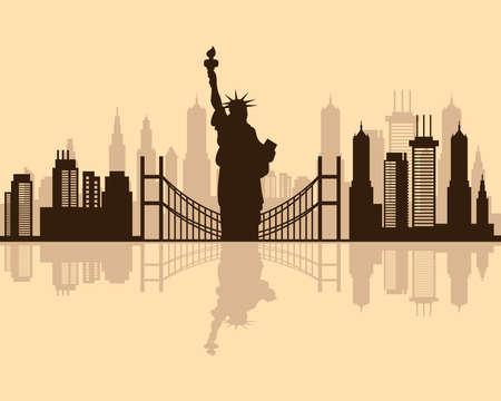 cityscape new york skyline scene icon vector illustration design 矢量图像