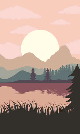 beautiful landscape sunset scene with lake and forest vector illustration design