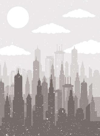 cityscape skyline scene beige silhouette vector illustration design