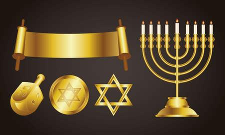 happy hanukkah celebration card with golden set icons and lettering vector illustration design