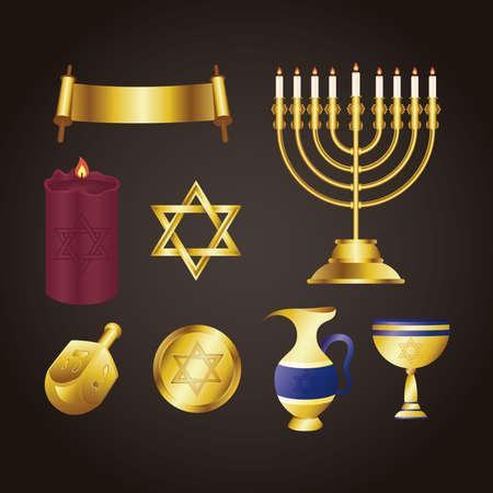 happy hanukkah celebration card with golden set icons vector illustration design Çizim