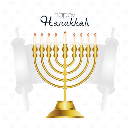 happy hanukkah celebration card with golden chandelier and parchment vector illustration design