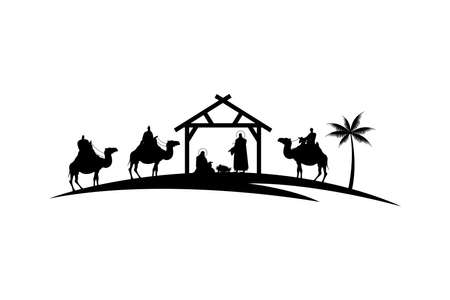holy family mangers characters in stable with camels black silhouettes vector illustration design