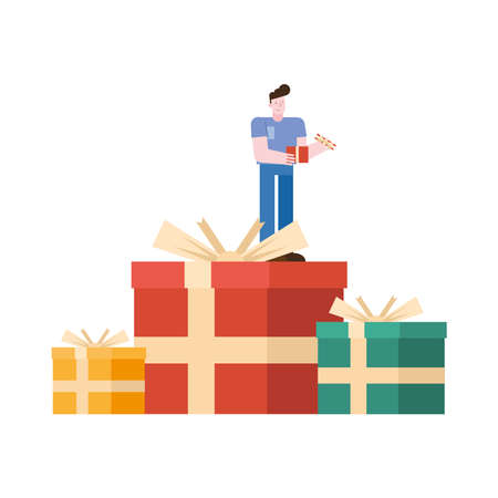 young man lifting gift in gifts character vector illustration design