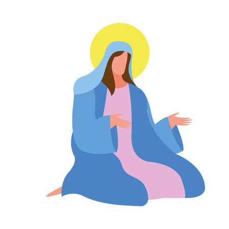mary virgin manger character icon vector illustration design