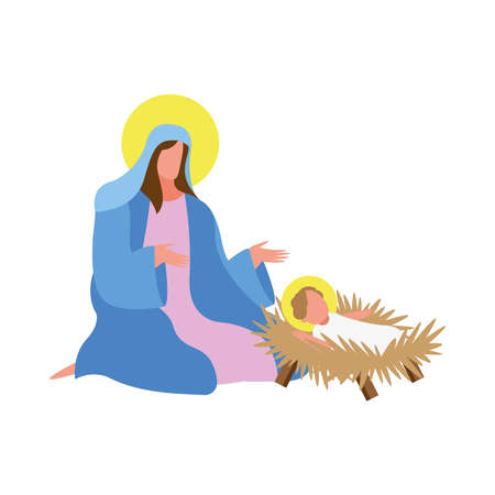 mary virgin and jesus manger character icon vector illustration design