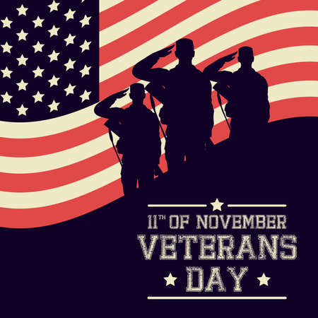 happy veterans day celebration card with soldiers saludating usa flag vector illustration design