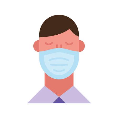 man using face mask flat style icon vector illustration design