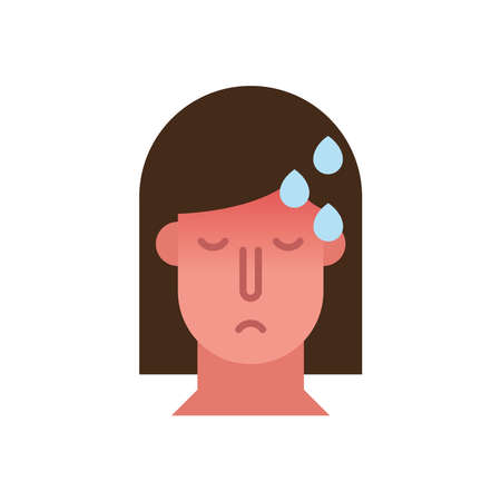 woman with fever covid19 symptom flat style icon vector illustration design