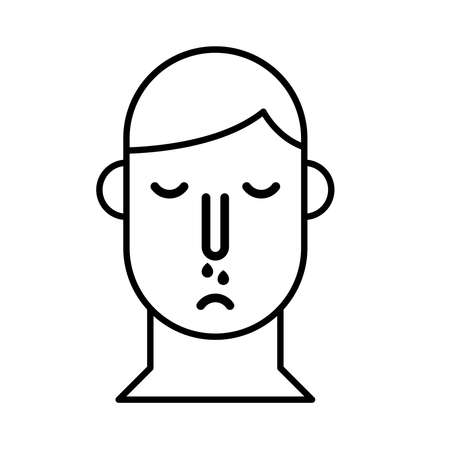 person with nose flu line style icon vector illustration design