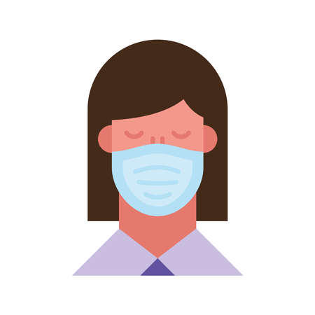 woman using face mask flat style icon vector illustration design