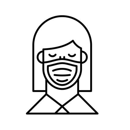 woman using face mask line style icon vector illustration design