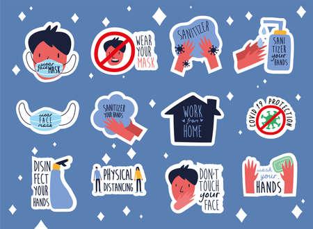 bundle of twelve new norm letterings campaign set flat style icons vector illustration design Vettoriali