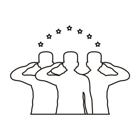 officers military silhouettes salute with stars line style icon vector illustration design