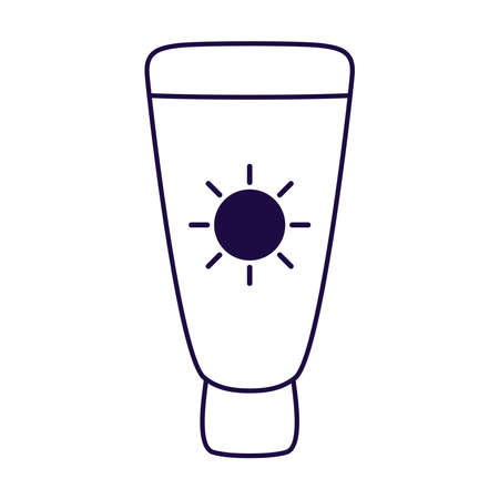 sun blocker tube line style icon vector illustration design
