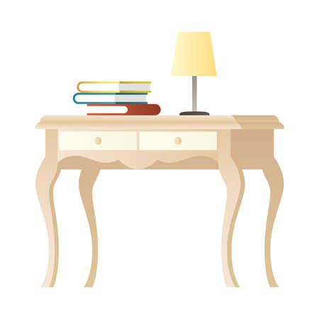 lamp and books in table wooden house furniture vector illustration design