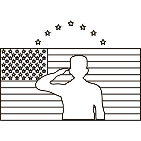 officer military silhouette in usa flag and stars line style icon vector illustration design