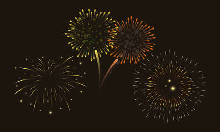 four orange and yellow fireworks splash lights in sky night vector illustration design Ilustração Vetorial