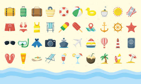 bundle of fourty summer vacations flat style set icons vector illustration design