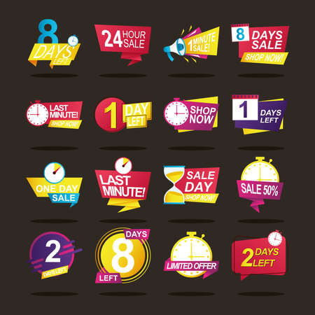 bundle of sixteen sale countdown badges vector illustration design