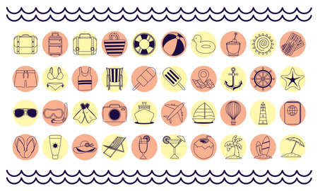 bundle of fourty summer vacations line style set icons vector illustration design Çizim
