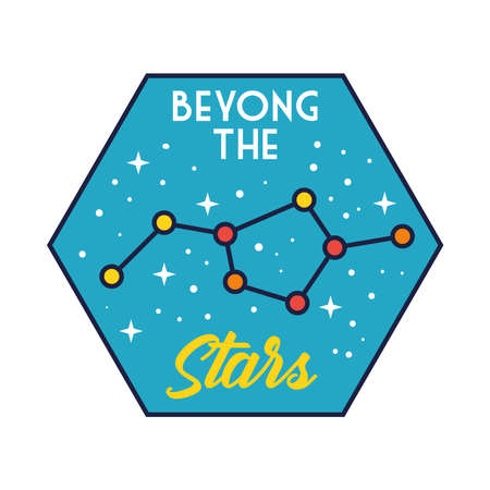 space badge with stars constellation line and fill style vector illustration design