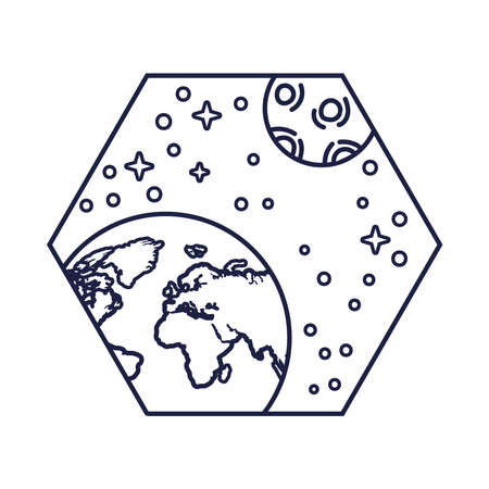 space badge with earth planet and moon line style vector illustration design Vector Illustration
