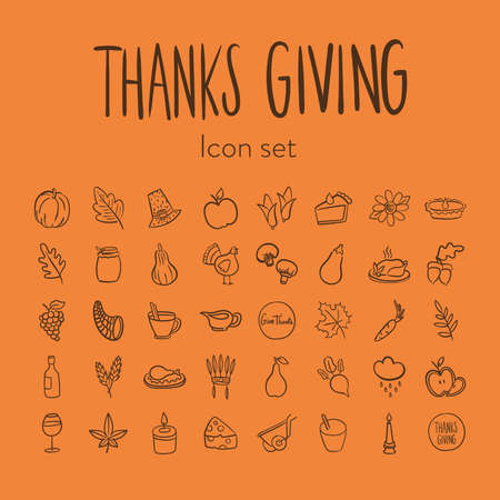 bundle of fourty thanksgiving day set icons vector illustration design Çizim